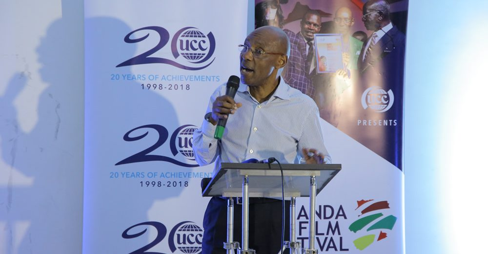 UCC boss Godfrey Mutabazi addressing guests at the UFF 2018 opening on Monday